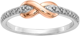 Two Tone Sterling Silver Diamond Accent Infinity Promise Ring