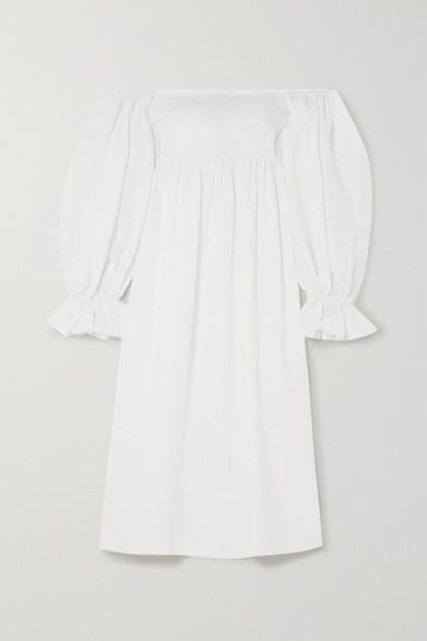 Sleeper Atlanta Off-the-shoulder Shirred Linen Midi Dress - White