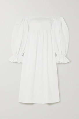 Sleeper Atlanta Off-the-shoulder Shirred Linen Midi Dress - White