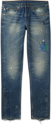Off-White Slim-Fit Distressed Paint-Splattered Denim Jeans