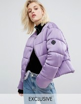 Puffa Oversized Collarless Padded Jacket Luxe Satin