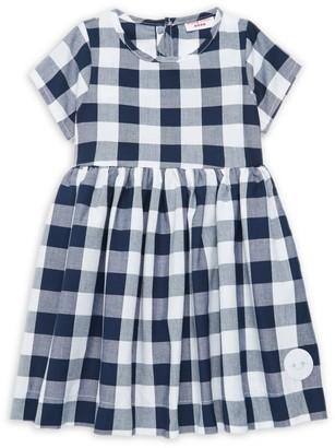Smiling Button Little Girl's & Girl's Buffalo Check Dress