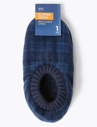Marks and Spencer Fleece Checked Slipper Socks