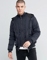 Armani Jeans Jacket With Hood & Mock Insert In Navy Water Repellent