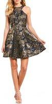 Jodi Kristopher Floral Metallic Jacquard Fit-And-Flare Dress