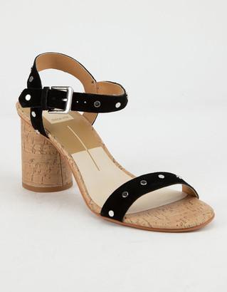 Dolce Vita Jadyn Black Studded Suede Womens Heeled Sandals