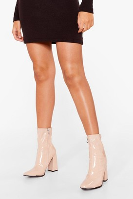Nasty Gal Womens Make Your Point Patent Faux Leather Sock Boots - Beige - 3
