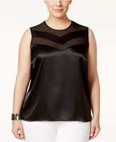 Kasper Plus Size Satin Illusion Top