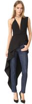 Michelle Mason Asymmetrical Plunge Cascade Top