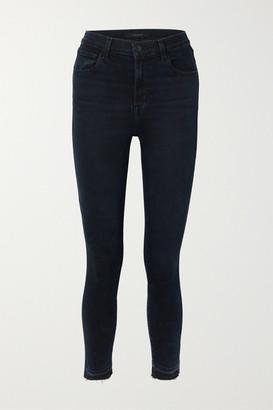 J Brand Leenah Cropped Frayed High-rise Skinny Jeans - Dark denim