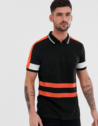 Jack and Jones Core polo shirt with zip neck and body stripe-Black