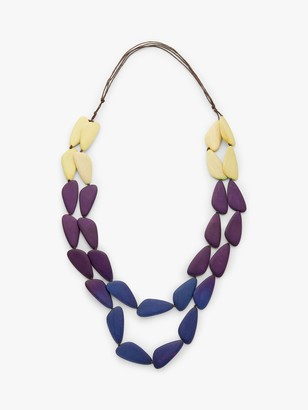 One Button Layered Wood Bead Necklace, Navy Mix