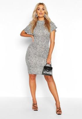 boohoo Plus Snow Leopard High Neck Bodycon Dress