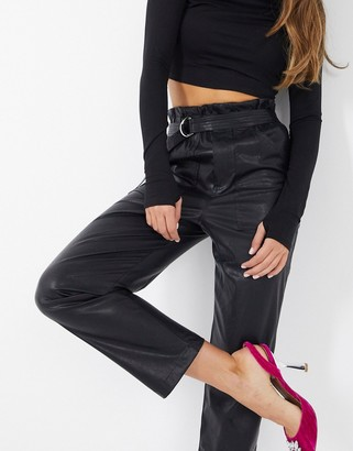 NA-KD paperbag waist PU pants in black