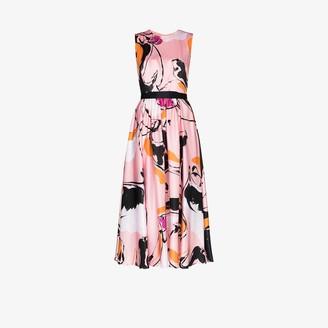 Roksanda Tibi Dance Print Silk Midi Dress