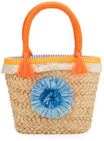Milly Minis Girls' Small Straw Pompom Tote Bag, Beige
