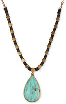 Lucky Brand Gold-Tone Reconstituted Turquoise Pendant Leather Necklace