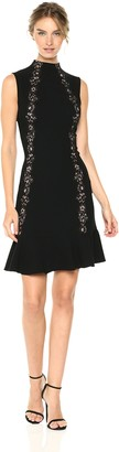 Rebecca Taylor Women's Sleeveless Crepe Lace Dress