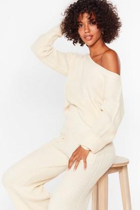 Nasty Gal Womens A Hot Pocket of Conversation Knit Lounge Set - Cream