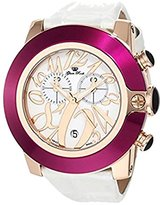 Glam Rock Women's GR32120 SoBe Chronograph White Dial Patent Leather Alligator Pattern Watch