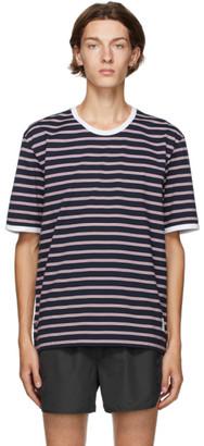 Thom Browne Navy Hairline Stripe Ringer T-Shirt