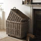 brush64 Rectangular Rattan Log Basket With Wheels And Handles