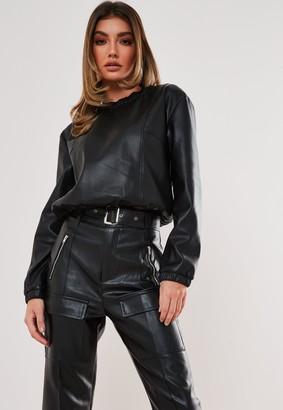 Missguided Premium Black Faux Leather Top