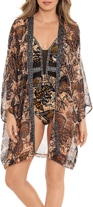Amoressa by Miraclesuit Leaf-Print Coverup Kimono