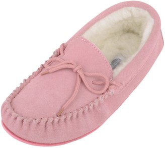 SNUGRUGS Women's Clara Lambswool Moccasin Slipper with Rubber Sole - Red - 4 UK