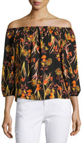 Collective Concepts Off-the-Shoulder Floral-Print Top, Orange