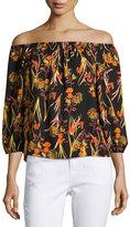 Collective Concepts Off-the-Shoulder Floral-Print Top, Orange