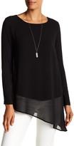 Joan Vass Long Sleeve Asymmetrical Knit Blouse