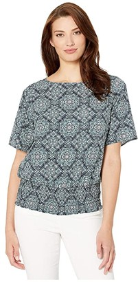MICHAEL Michael Kors Majorelle Kimono Top (True Navy/Sea Green) Women's Clothing