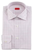 Isaia Box-Check Long-Sleeve Dress Shirt, Pink