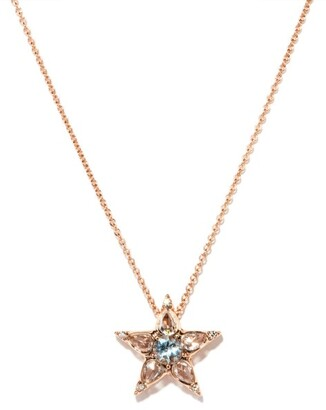 Selim Mouzannar Istanbul Diamond, Aquamarine & 18kt Gold Necklace - Pink Gold