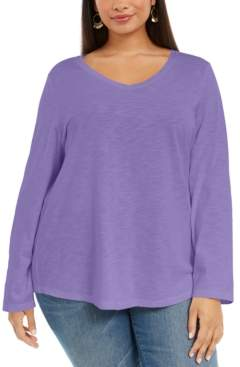 Style&Co. Style & Co Plus Size V-Neck Top, Created For Macy's
