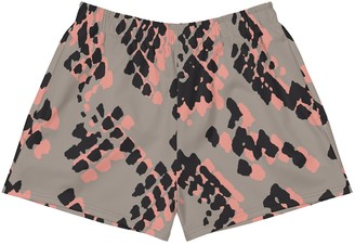 Ladies Athletic Shorts - Coral & Black Scaled 2 Print