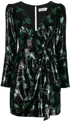 Self-Portrait Leaf sequin mini dress