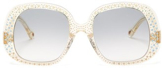 Chloé Chiara Oversized Crystal-embellished Sunglasses - Womens - Yellow