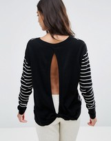 Pam & Gela Pam & Gella Twisted Open Back Cashmere Mix Sweater
