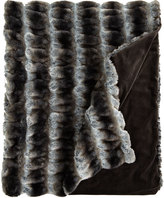 Horchow Gray Faux-Fur Throw