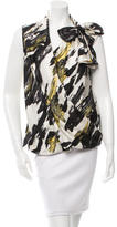 David Szeto Surplice Neck Silk Blouse