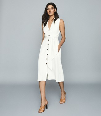 Reiss Rosalind - Linen Blend Belted Midi Dress in White