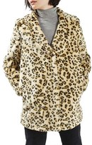Topshop Leopard Faux Fur Coat