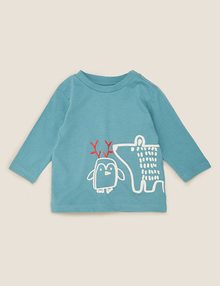 Marks and Spencer Pure Cotton Bear & Penguin Print Top (0-3 Yrs)