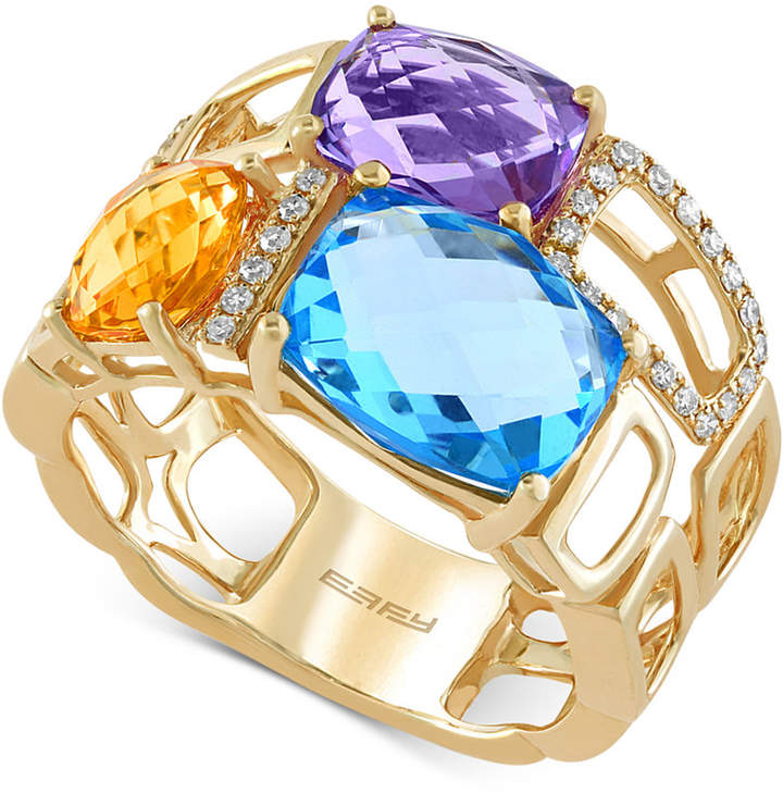 Effy Mosaic by Multi-Stone (6-7/8 ct. t.w) and Diamond (1/10 ct. t.w.) Mosaic Ring in 14k Gold