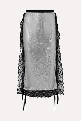 Christopher Kane Lace-trimmed Chainmail Midi Skirt - Silver