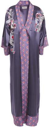 Temperley London Firebird Embroidered Printed Satin Kimono