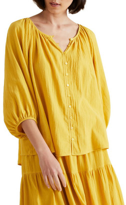 Seed Heritage Button Down Crinkle Blouse
