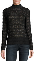 Laundry by Shelli Segal Mock-Neck Lace Top, Black